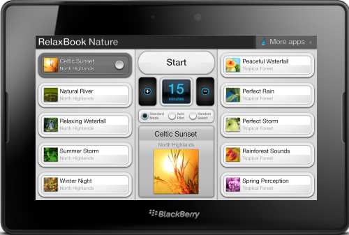 RelaxBook Nature App for the PlayBook